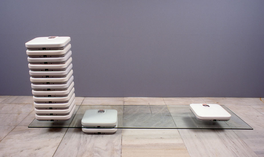 Sophia Kosmaoglou Personal scales (still-life), 1994. Bathroom scales, glass, 90 x 190 x 45 cm