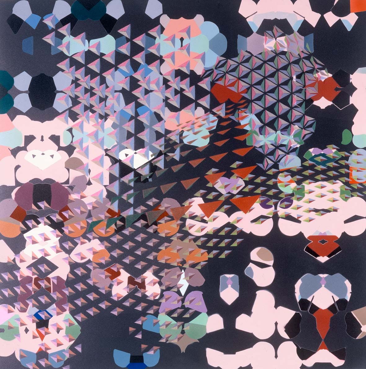 Myth 1. Space Invaders 1999, 1999 Automotive acrylic enamel on aluminium, 80 x 80 x 5 cm.
