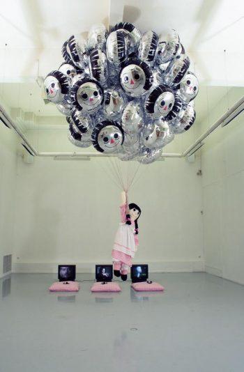 Sophia Kosmaoglou Post-Production Blues, 1998. Fabric, silk stuffing, polystyrene beads, wool, helium, balloons, approx. 600 x 400 x 400 cm