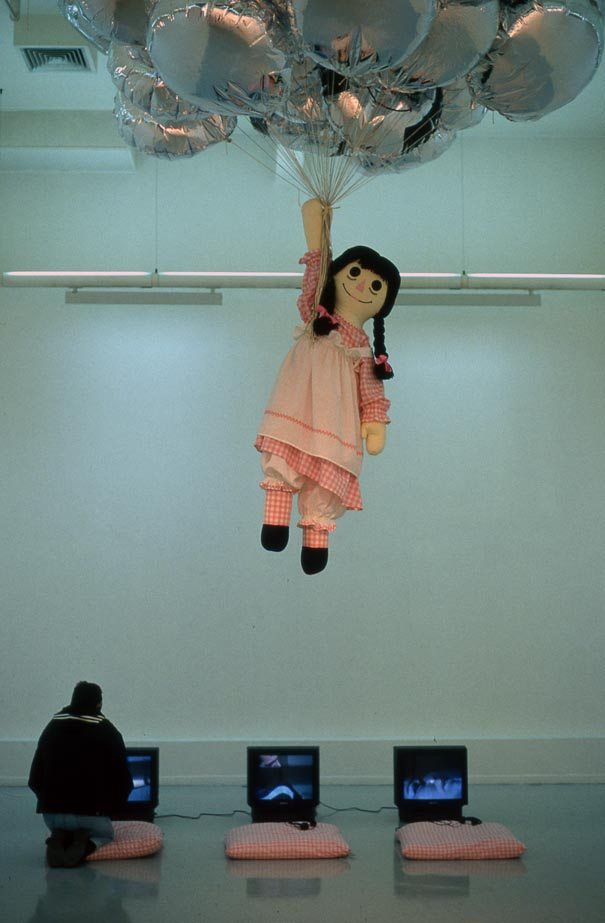 Sophia Kosmaoglou Post-Production Blues, 1998. Fabric, silk stuffing, polystyrene beads, wool, helium, balloons, approx. 600 x 400 x 400 cm