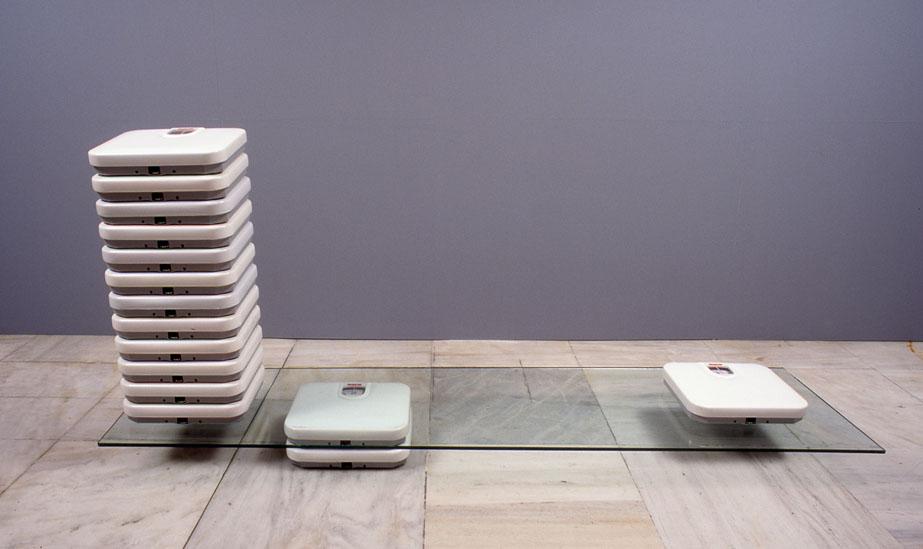 Sophia Kosmaoglou Personal scales (still-life), 1994. Bathroom scales, glass, 90 x 190 x 45 cm