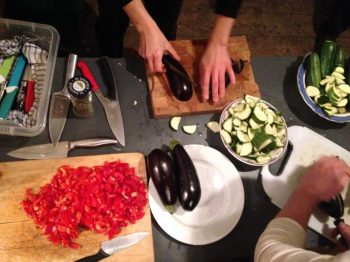 Chopping veggies at the Field Kitchen, 20 Jan 2016. Photo by Maria Christoforatou.