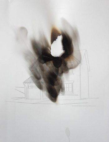 Maria Christoforatou [2012-14] Houses on Fire. Pencil and candle on paper, 42 x 30cm.