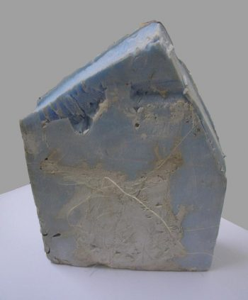 Maria Christoforatou [2013] Untitled. Polystyrene xps blue, plaster and sisal twines, 19.7 x 14 x 10.4cm.