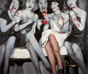 Gerhard Richter [1963] Party. Oil, nails, cord on canvas and newspaper, 150 x 182cm.