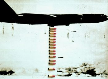 Wolf Vostell [1969] B 52 Lipstick Bomber. Serigraph and lipsticks behind glass in wooden box, 88 × 119.5 cm.