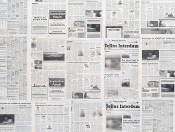 Andrea Zittel [2011] Tellus Interdum. Newsprint printed at High Desert Star in Yucca Valley, 384.8 × 1678.9 × 429.3 cm.