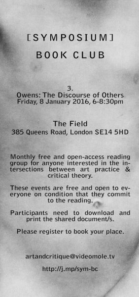 [BOOKCLUB]#3 Owens The Discourse of Others, 8 Jan 2016, The Field New Cross.
