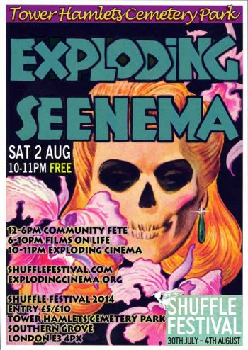Exploding Cinema, Shuffle Festival, 2 Aug 2014, Tower Hamlets Cemetary Park.
