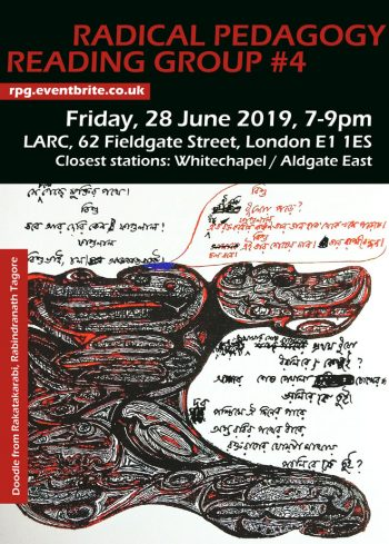 RPG#4 Pedagogy of the Oppressed pt. 2, 28 Jun 2019. Flyer by D Vora.