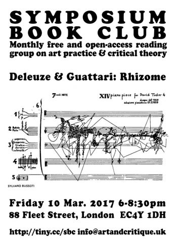 [SYMPOSIUM]#16 Deleuze & Guattari Rhizome, 10 Mar 2017, MayDay Rooms.
