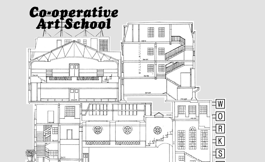 Flyer for A co-operative art school: workshop series