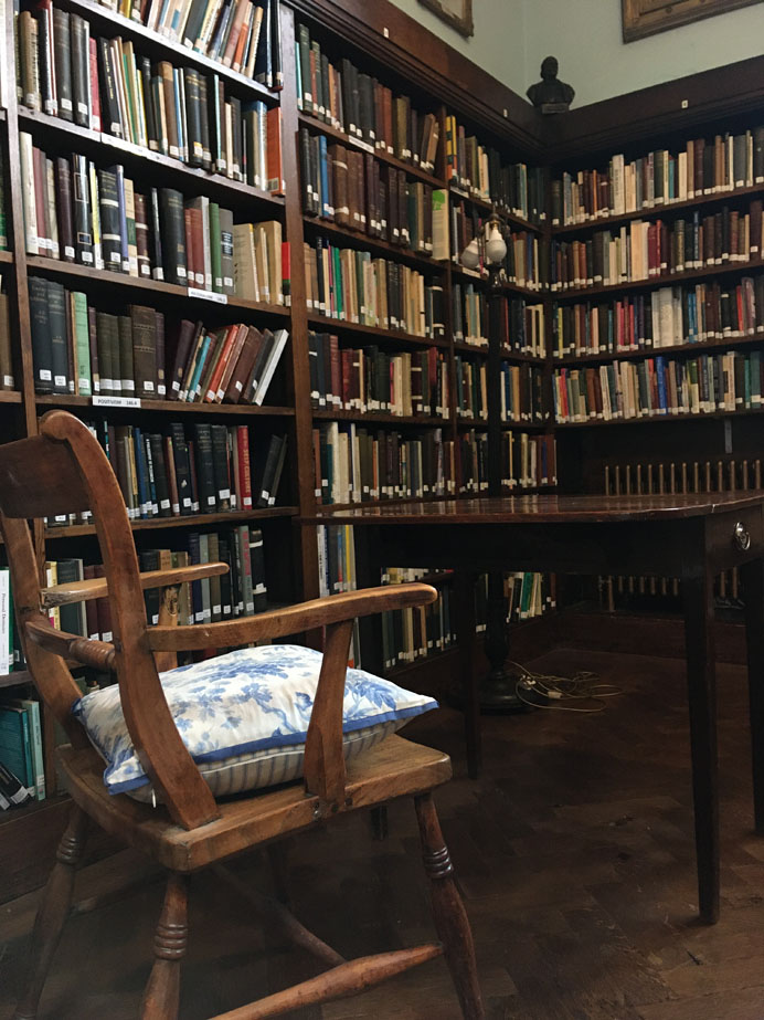 Conway Hall Library with Richard Carlile's writing desk from Dorchester Gaol and William Lovett's chair