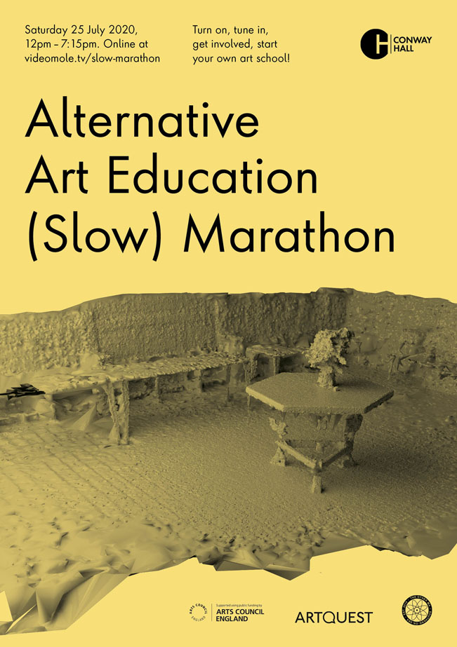 Alternative Art Education (Slow) Marathon, 25 July 2020. Flyer by Models and Constructs.