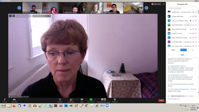 Catherine Harrington (AltMFA), Open Discussion on Online education, Labour + Cooperation (TOMA, AltMFA, Into the Wild)