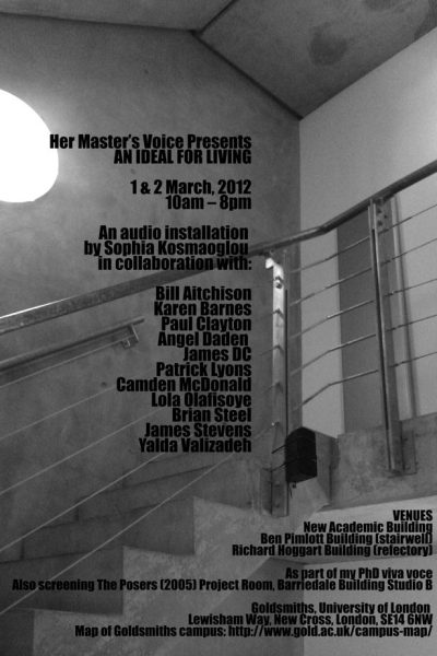 Her Master's Voice Presents: AN IDEAL FOR LIVING, 2012. Three site-specific multi-channel sound installations, speakers, mp3 players, amplifiers, speaker cable, dimensions variable